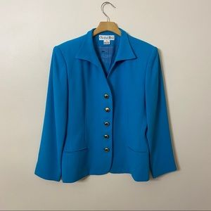 CHRISTIAN DIOR Vintage Blue Gold Button Blazer 12
